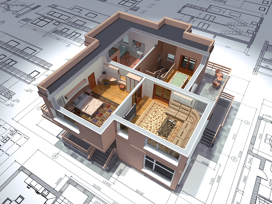 3D view of the cut residential house on architect drawing.